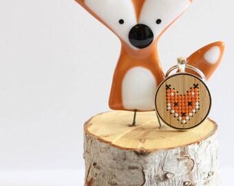 Fox Cross Stitch Keychain Kit with Bamboo Wood *Modern Embroidery DIY Kit