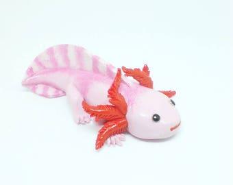 Polymer clay axolotl, axolotl figurine, axolotl sculpture, axolotl totem, axolotls, Mexican salamander, Pink axolotl