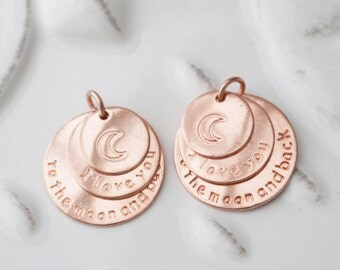 Rose Gold Charms, Rose Gold, Love you to the Moon and Back, Love Charm, Love Pendant, In Love, Love Always, Love Forever, Set of 4, 369