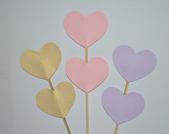 Pink/ Purple/ Gold Heart Skewers