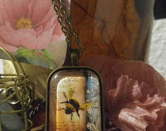 Golden Bumblebee necklace, glitter necklace, thinking of you, happy birthday, gardener's gift, just because, nature necklace