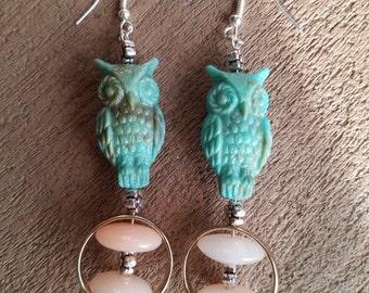Turquoise Owl Resin Earrings