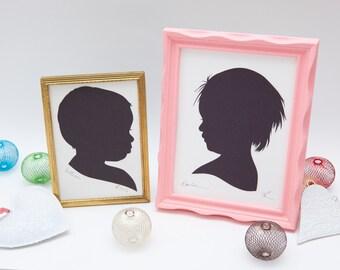 Custom baby or child silhouette portrait // Christmas gift - gift for grandparents - handmade paper art - personalized gift - nursery decor