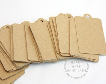 Kraft Paper Tag, Kraft Tags, 100 Tags, 2 x 1.25 Inches, Paper Tags, Jewelry Tag, Price Tag, Merchandise Tag, Small Tags, Favor Tag, Gift Tag