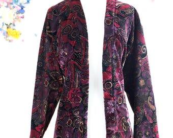 Boho Vintage Paisley Patterned Velvet Kimono Duster Jacket Metallic Gold Thread Miss Fisher Style Purple Pink Black Long Sleeve Size M/L/XL