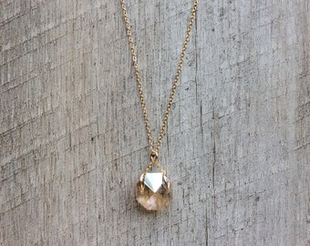 Octagon Crystal Pendant Necklace, Birthstone Necklace, Crystal Necklace, Crystal Pendant, Short Necklace, Rustic Modern Necklace,