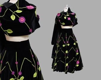 1950s Juli Lynne Charlot Velvet Skirt and Shawl