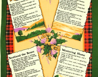 Songs From Scotland Tea Towel - Vintage Clive Mayor Scottish Heritage Thistle Westering Home - New Old Stock - Made in Britain