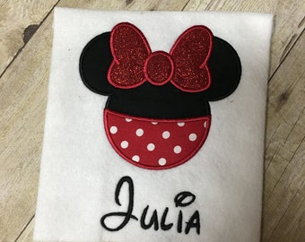 Girls or Baby Girl Disney Minnie Mouse Appliqué Shirt or Onesie - Disney Vacation Shirts