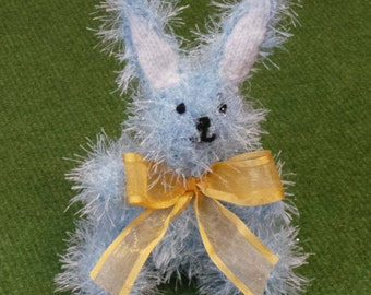 Hand Knitted Easter Bunny Rabbit in Sparkly Pastel Blue Tinsel Wool - 16cm Tall