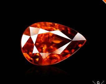 Spessartite garnet 2.47ct. Shinning Noble Color! Natural stone Madeira Spessartite Garnet pear cut Mandarin loose Gemstone Namibia see VIDEO