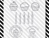 Cupcake svg files - Birthday svg cut file - Cut files - Vector art - dxf files - digital cupcake - cupcake svg - birthday svg - candles svg