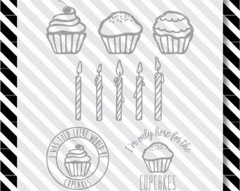 Cupcake svg files - Birthday svg cut file - Cut files - Vector art - dxf files - digital cupcake - cupcake svg - birthday svg - candles svg
