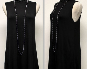 Sleeveless Tunic Top, Long Tunic, Adorable and Comfortable,  Black, S, M, L