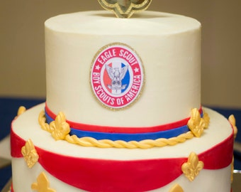 Eagle Scout Boy Scout Theme Custom Cake Topper Set (ceremony decor, cake decoration)