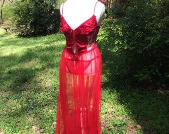 Vintage Fredrick's Red Corset w/ Dress & Matching Panties