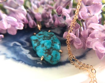 """Turquoise, 14k Goldfill Necklace. 20"""" Goldfill Gem Necklace. OOAK Turquoise. December Birthstone. Gold Turquoise Necklace. Dainty Turquoise."""