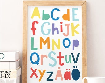 Scandinavian alphabet, Norway alphabet, Alphabet print, Educational print, Educational poster, Danish alphabet, Nursery print, Nursery decor