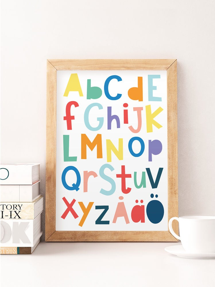 Scandinavian alphabet Norway alphabet Alphabet print