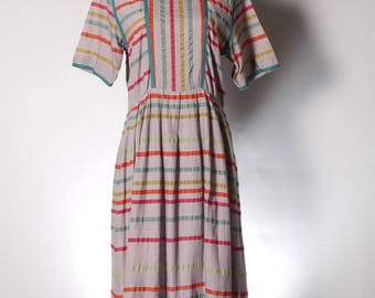 Vintage multi-color stripe grey midi summer dress