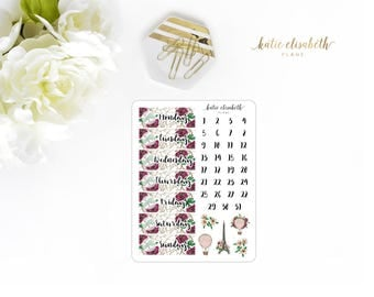 J'Adore Paris Date Covers || Planner Stickers