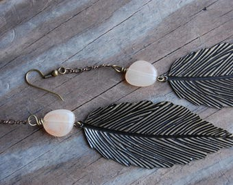 Woodland Collection - Antiqued Copper Pink Aventurine Feather Dangle Earrings