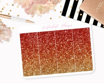 Ombre Glitter Header Planner Stickers - Orange Copper & Gold // Perfect for Erin Condren Vertical Life Planner