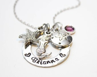 mermaid necklace, personalized mermaid necklace, mermaid jewelry, personalized mermaid jewelry, mermaid theme gift, mermaid gift, mermaid