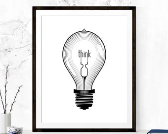 Think Print, Classroom Print, Gift for Teachers, Classroom Decor, Minimalist Poster, Typography Print, Printable Art, Digital Art, Wall Art