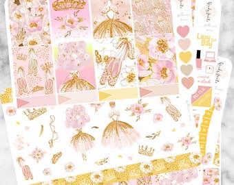 W149 Ballerina Queen, ECLP VERTICAL Weekly Kit, Planner Stickers, Sticker Kit, Ballet Stickers, Queen Sticker, Gold, Glitter, Erin Condren