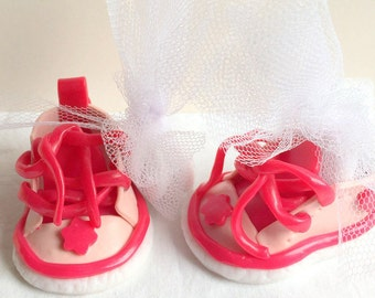 Polymer clay creation: mini shoe/christening/table decor/Godfather godmother/sweets/christening table decoration containing pink Ruby/white mini basketball