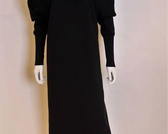 A vintage 1980s chanel black jumper dress M- L with floral detail
