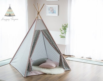 Teepee - pink/gray stars, handmade indian teepee, kids play, tent, tipi, wigwam