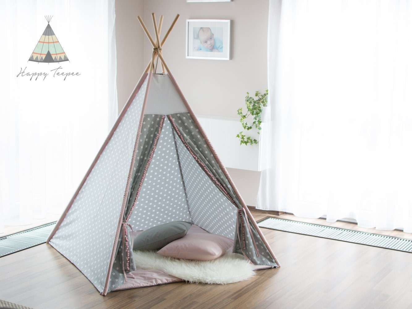 tipi rose gris toiles tipi indien fait la main les. Black Bedroom Furniture Sets. Home Design Ideas
