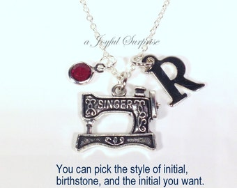 Sewing Machine Necklace, Gift for Seamstress Jewelry, Home Economics Student Life Sew Birthday Present, Singer with initial birthstone 192