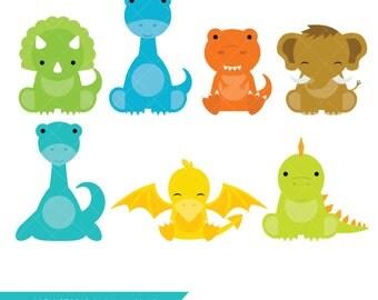 Baby Dinosaur Clipart / Prehistoric Baby Animal Clip Art