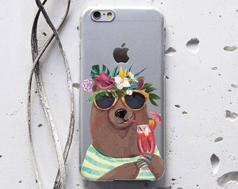 iPhone 7 Plus iPhone 6s Bear Print iPhone SE Case for Samsung Galaxy S7 Case, Samsung Galaxy S6 Case, Samsung Galaxy S7 Edge Case Animal 244