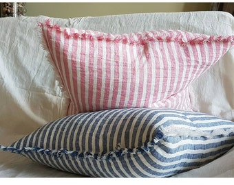 Striped linen pillowcase with fringe, blue white or pink white stripes, stonewashed pure linen pillow sham, pillow cover from softened linen