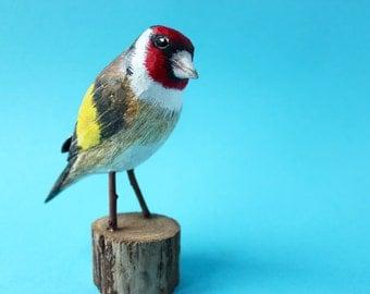 Goldfinch, bird, wood, carved