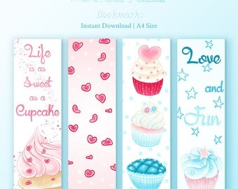 Delicious Cupcakes Bookmark, printable bookmark, bookmark set, planner bookmark, inspirational quote, reader gift