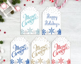 Christmas Gift Tags, Snowflake Tags, Snowflakes, Holiday Tags, Gold, Label, Sticker, Printable, Instant Download, Red Blue Silver, Glitter