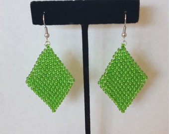 Seed Bead Earrings, Diamond Shaped Earrings, , Retro Earrings, Seed Bead Jewelry, Unique Boho Jewelry, Green Earrings, Beaded Earrings