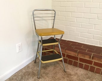 affordable vintage cosco step stool mustard yellow silver black mid century retro kitchen fold up seat with step stool chair & Step Stool Chair. Affordable Image Of Folding Kitchen Step Stool ... islam-shia.org