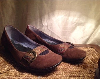 Brown suede, 6.5 shoes,
