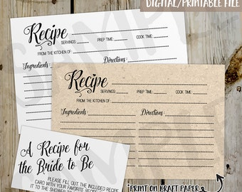 PRINTABLE Classic / Rustic Bridal Shower Recipe Card -  DIY Instant Download Recipe Card Digital File - Shower Invitation Enclosure Kraft