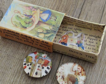 Alice in Wonderland Glass Handmade Magnets Playing Cards Caterpillar Hookah Illustrations Gift Box Unique Gift Lewis Carroll