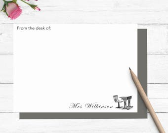 Desk stationery set, personalized teacher stationary, personalized teacher gift, teacher appreciation gift, back to school gift, TS001
