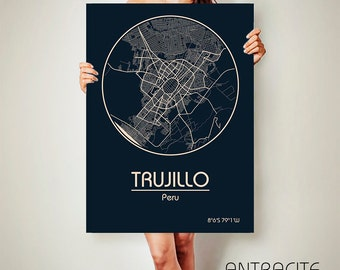 TRUJILLO Peru CANVAS Map Trujillo Peru Poster City Map Trujillo Peru Art Print Trujillo Peru poster Trujillo map art Poster Trujillo map
