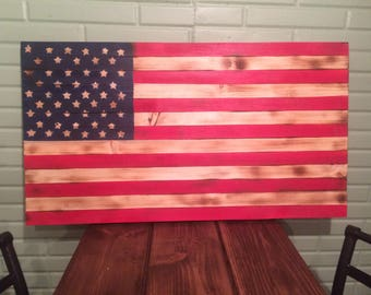 Wooden Pine American Flag