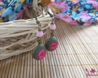 Rose earrings pink flower jewelry gift for women birthday gift for her jade jewelry dangle earrings delicate jewelry hand embroidery jewelry